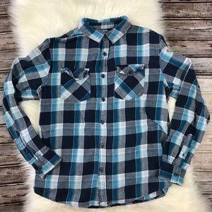 RetroFit Blue and Aqua Flannel Button Down